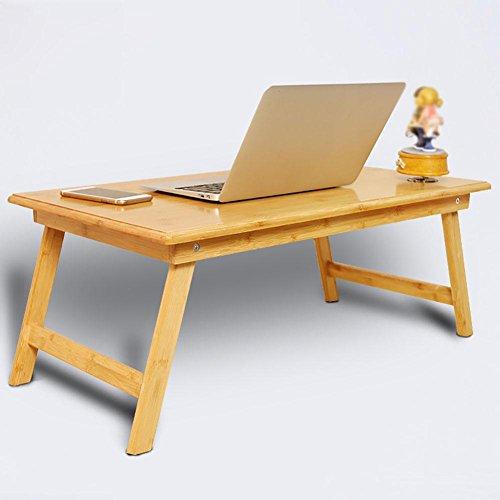 KSUNGB Laptop-Schreibtisch Bett Falten Kleiner Schreibtisch Faule Leute Schreibtisch Lerntisch Schreibtisch, Holzfarbe, 80 * 40 * 34cm