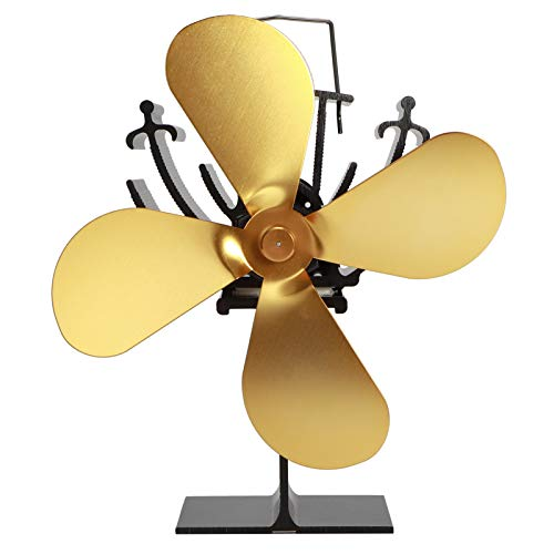 Emoshayoga Herdventilator 4-Blatt Kamin Heizungsventilator Wärmebetriebener Ventilator Hotelzimmer Für zu Hause