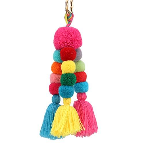 Nowbetter Llavero con pompón de borla con flecos, colgante de bola de pelo, adorno para mujeres y niñas, bolso de mano, decoración de bolsa de coche, multicolor 4