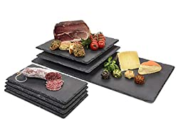 Singer serving plate set of slate 7 piece | Dimensions 30x15 cm | 30x30 cm | 60x30 cm | Robust and noble buffet plates made of natural slate