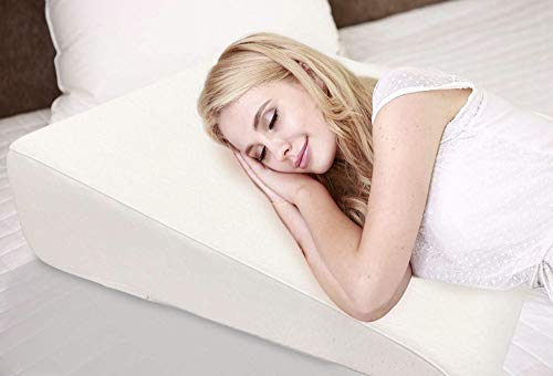 """7.5"""" Wedge Pillow For Acid Reflux - Dr. Recommended Height, Luxurious 2"""" Memory Foam Pillow Wedge For Sleeping, GERD, Post Surgery, Heartburn, and Snoring - Washable Bamboo Cover (25""""W x 26""""L x 7.5""""H)"""