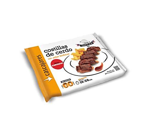 CASCAJARES - Costillas de Cerdo con salsa barbacoa, perfecto para una o dos personas, calentar en horno o microondas. Sin gluten. Cortadas en bastones