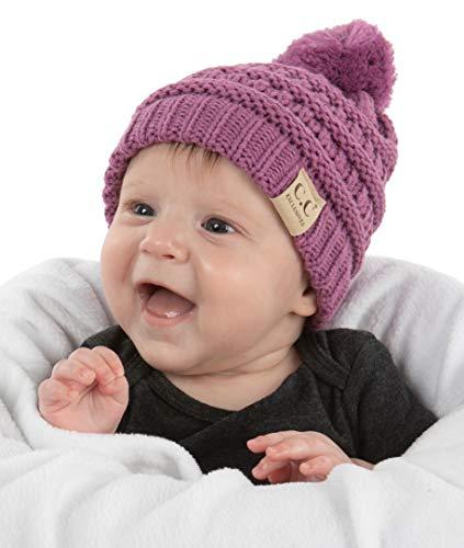 Beanie Infant Baby Skull Cap Hat (POM) - Lavender
