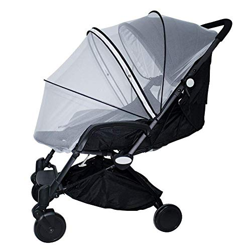 Universal Baby Infant Foldable Adjustable Umbrella Cap Insect Net,for Stroller Bassinets Pushchair Baby Cart Full Cover Mosquito Net,White,122 * 133CM