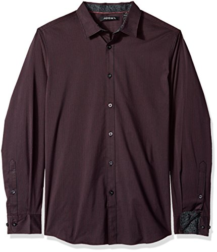 AXIST Men's Long Sleeve Mini Grid Woven Shirt, Winetasting, XX-Large