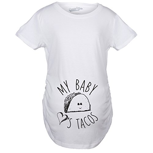 Crazy Dog Tshirts - Maternity My Baby Loves Tacos Funny T Shirt Cute Announcement Pregnancy Bump Tee (White) - XXL - Femme