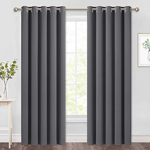 NICETOWN Blackout Curtains Panels for Bedroom - 3 Pass Microfiber Noise Reducing Thermal Insulated Solid Ring Top Blackout Window Drapes (2 Panels, 66 x 90 Inch, Gray)