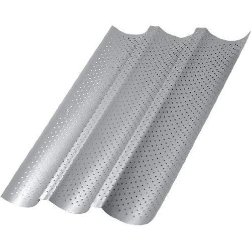 Baguette Pan, Non-stick Perforated French Bread Pan Bakeware Toast Cooking Bake Mold Home baking Bread Mold Perforated French Bread Pan Wave Loaf Bake Mold - 3 Loaves (3 Loaves, Silver)