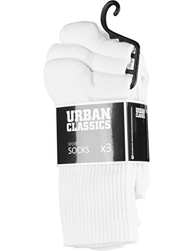 Urban Classics Herren Sport 3-Pack Socken, Weiß (White 220), 43/46