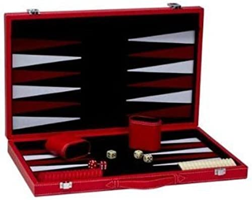 18.12 Backgammon Set in Leatherette Case with Velour Inlay, rot by CHH