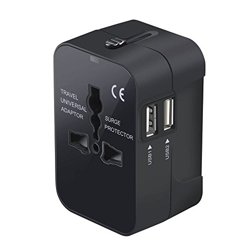 Tempo Universal Plug Adapter Worldwide Travel Plug Converter Adaptor All In One Wall Charger With Dual USB Charging Ports 2.1A Works 110 240V for EU UK US AU Plugs (Black)