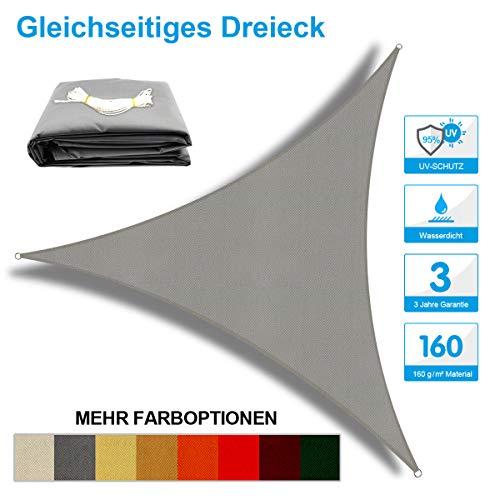 OKAWADACH Toldo Vela de Sombra Triangular 2 x 2 x 2m, protección Rayos UV Impermeable para Patio, Exteriores, Jardín, Color Gris Claro