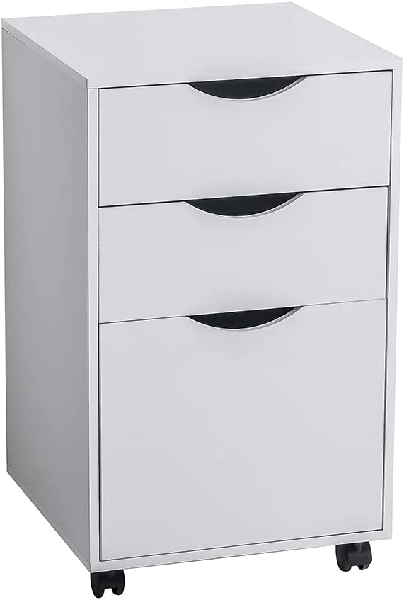 Wooden Mobile Filing Cabinet, 3 Drawers Storage Cabinet, with Wheels Lockable Casters, for Home Office, 26 Inch High (White)