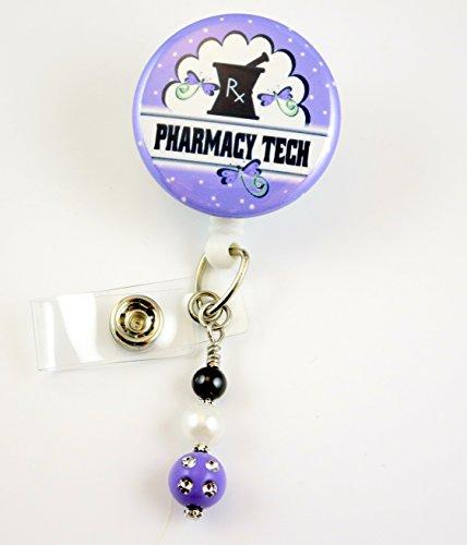 Pharmacy Tech RX Purple -Nurse Badge Reel - Retractable ID Badge Holder - Nurse Badge - Badge Clip - Badge Reels - Pediatric - RN - Name Badge Holder