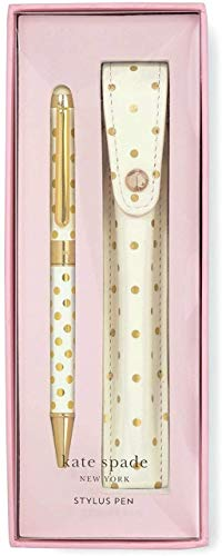 Kate Spade New York Black Ink Ballpoint Pen with Stylus Tip and Storage Pouch, Gold Dots