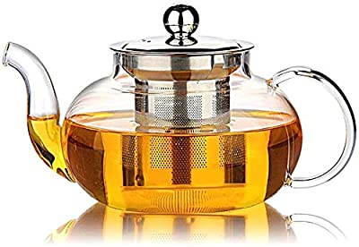 Glass Teapot with Stainless Steel Infuser & Lid, StoveTop Safe, Blooming & Loose Leaf Teapots, 27 Ounce / 800 ml