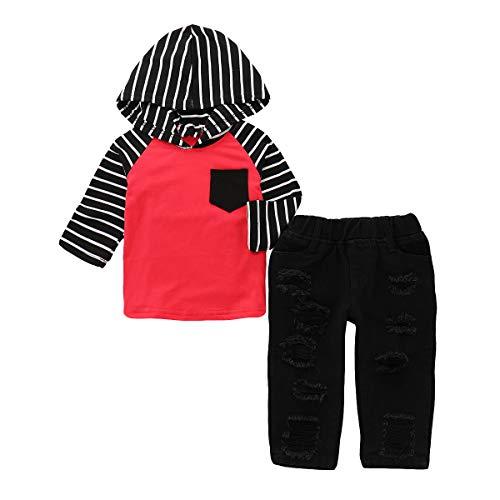 Puseky 2 stks/Set Peuter Kids Kleding Baby Jongen Streep Hooded Shirt Tops +Ripped Jeans Gat Broek Outfits Set (Rood+Zwart, 1Y)