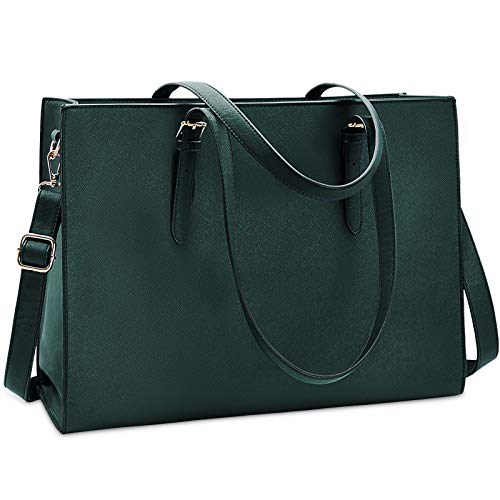 Laptop Bag for Women Waterproof Lightweight Leather 15.6 Inch Computer Tote Bag Business Office Briefcase Large Capacity Handbag Shoulder Bag Professional Office Work Bag Deepgreen