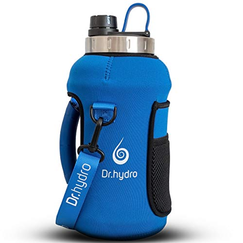 DR.HYDRO Half Gallon Water Bottle with Storage Sleeve and Silicon Handle -BPA Free 1/2 gallon water bottle with straw for sports, Perfect large water bottle for gym motivation and workout -Royal Blue
