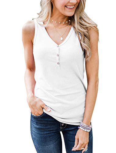 Minthunter Women's Casual Summer V Neck Tank Tops Sleeveless Button Down Shirts White