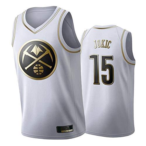 HRTE Nuggets # 15 Jokic - Camiseta de baloncesto para hombre, color blanco, sin mangas, para equipo, ropa deportiva transpirable, uniforme de entrenamiento al aire libre, color blanco ~ 2-S