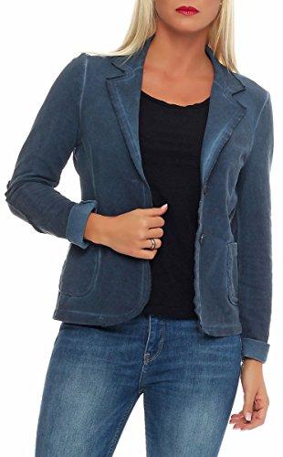 Malito Damen Blazer im Washed Style | Sakko im Basic Look | Kurzjacke mit Knöpfen | Jacke - Jackett - Blouson 1652 (dunkelblau, L)