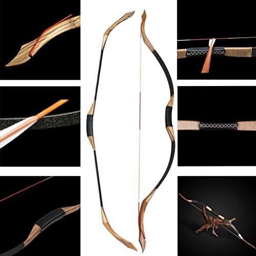 Tir à l'arc chasse arc classique arc à la main main Longbow main gauche et droite arc à la main arc cible arc pratique pour adultes compétition de plein air compétition flèches de carbone arcs (40)