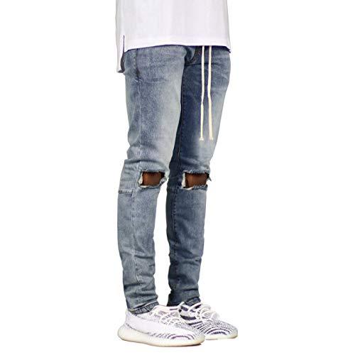 Pantalones vaqueros de hombre estilo europeo y americano de moda todo partido cómodos pantalones casuales con bolsillos y cordón, azul claro, 30