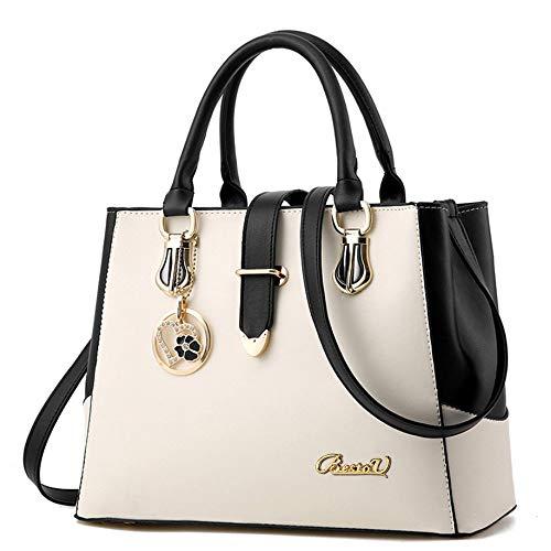 BestoU Damen Handtaschen Schwarz groß taschen Leder moderne damen handtasche gross schultertasche Frauen Umhängetasche (Weiß)