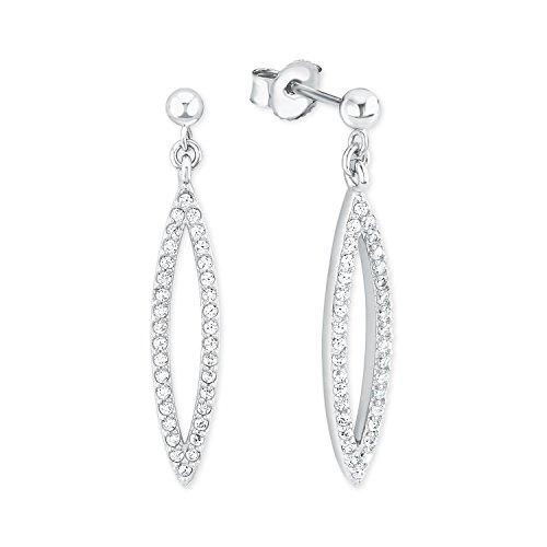 S.Oliver Damen Ohrhänger 925 Sterling Silber rhodiniert Zirkonia weiß  - jetzt bei Amazon bestellen