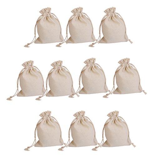 Froomer  - Bolsa de yute de lino con cordón, para regalo de boda, 10 unidades
