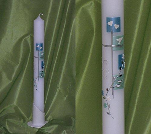 Taufkerze/Kommunionkerze, Türkis, 40 x 4 cm, inklusive Beschriftung ! P 74/1