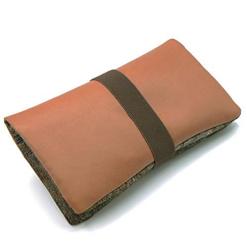 GUGGIARI® Porta Tabacco Cartine e Filtri realizzato in Pelle PU e in Tessuto per Donna e Uomo - Morbido Portatabacco in Pelle PU munito di Zip, Velcro e Chiusura ad Elastico. (Brown - Rusty)