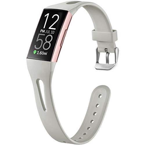 Ouwegaga Compatible for Fitbit Charge 3 Band for Women Men Charge 4 Straps Wristbands Gray Small