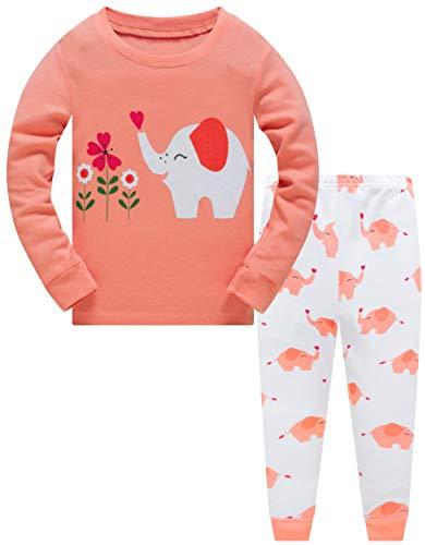 Mädchen Schlafanzug Elefant 100% Baumwolle Kinder Zweiteiliger Lange Ärmel Pyjama Set Kleinkind Nachtwäsche Pjs Outfits 104