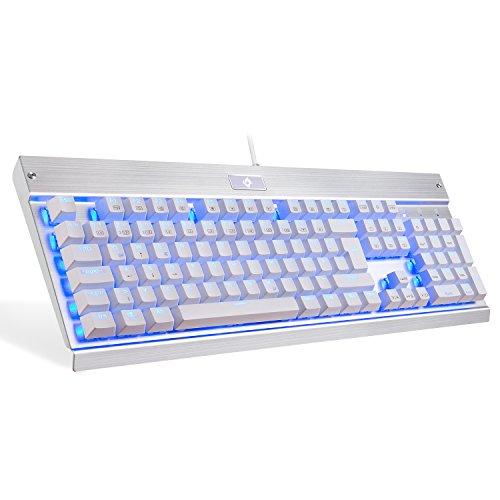EagleTec KG011 Gaming Tastatur LED RGB BLAU Beleuchtete Mechanische Tastatur Blaue Schalter Für PC Gamer Büro USB Kabel Gebunden 104 Tasten Ergonomisch Aluminium Design (Deutsch QWERTZ Layout)