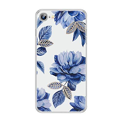 ZNE Kompatibel mit iPhone se 2020 Hülle - Handyhülle, Flower Durchsichtig Transparent Ultra Slim TPU Silikon Handy Schutzhülle Schale für iPhone se 2020-16