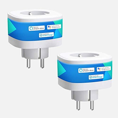 Meross WLAN Smart Steckdose, Intelligente Wi-Fi Steckdose 16A 3680W kompatibel mit Alexa, Google Home und SmartThings, mit App Fernsteuerung, 2 Stücke