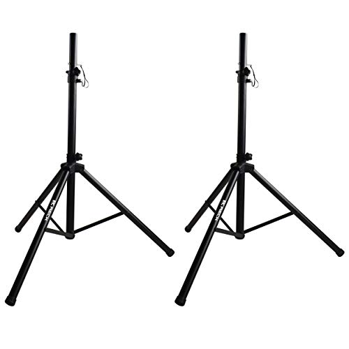 RECK Professional PA DJ 2 tripod speaker stands,4-6ft Adjustable Height, 35mm Compatible Insert, for stage/studio monitor/home