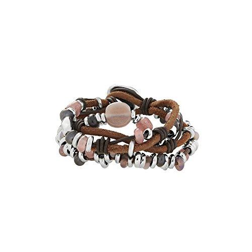 UNO de 50 'A mi Aire PUL1612MCLCAM0M - Pulsera para Mujer en Cuero marrón con Piezas bañadas en Plata y Cristales de Colores.