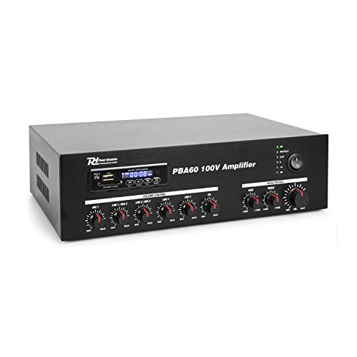 Power Dynamics PBA60 100V versterker 60W met mp3 speler, tuner en Bluetooth