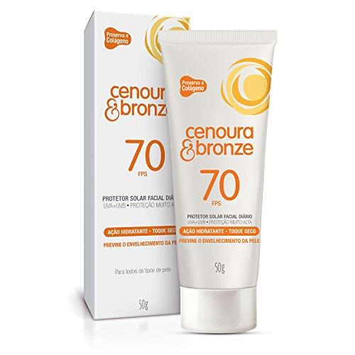 Protetor Solar Facial Diario, Loção 50 g, FPS70, Cenoura e Bronze