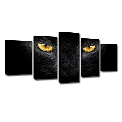 5 Piece Creative Painting with Canvas Prints Black Panther Eye Wall Art Fashion Poster Picture Decorative Paintings Stretched Artwork Gift(No Frame)