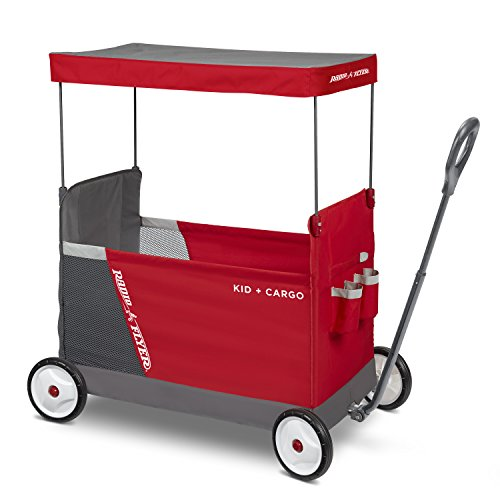 Radio Flyer Kid & Cargo with Canopy, Folding Wagon with 2 Versatile Seats, Red