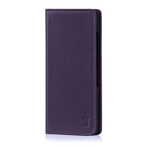 32nd Klassische Series - Lederhülle Hülle Cover für BlackBerry Key2, Echtleder Hülle Entwurf gemacht Mit Kartensteckplatz, Magnetisch & Standfuß - Aubergine