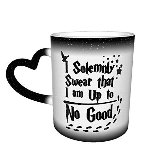Taza con texto en inglés 'I Solemnly Swear That I Am Up to No Good Color Changing Mug Great Coffee Mug Design Ceramic Heat Sensitive Mug,11 oz N2Y