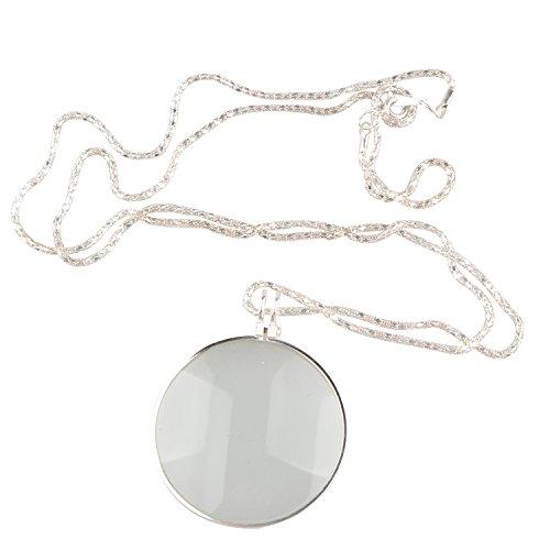 Lot de colliers loupes avec lentille de verre grossissante de 42 mm de diamètre - Pour livres et travaux manuels, bijoux et loisirs - Argent
