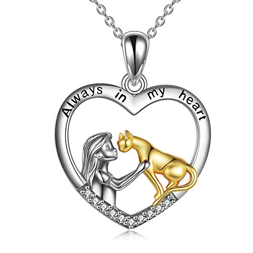 YFN Sterling Silver Cat Pendant Necklace 'Always in My Heart' Cat Jewelry Gift for Women 18'