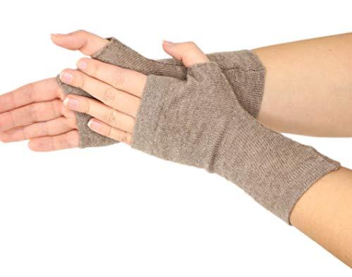 prettystern gestrickte 100% Kaschmir Fingerlose Handschuhe Pulswärmer Stulpen Weich Warm - Wolle Braun