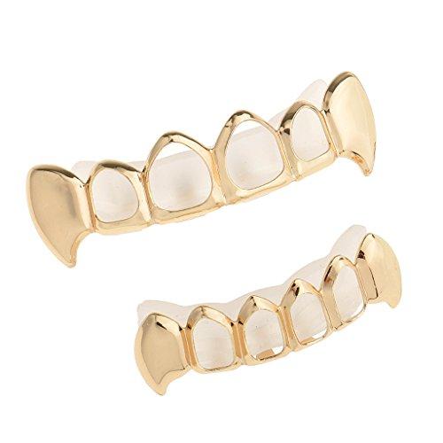MagiDeal Punk Zahnschmuck für obere & untere Zahnreihe mit 2 Streifen - Gold